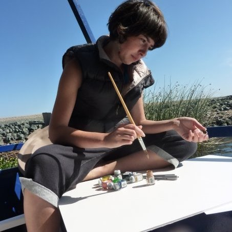 Ephemerisle: Steph paints on a houseboat